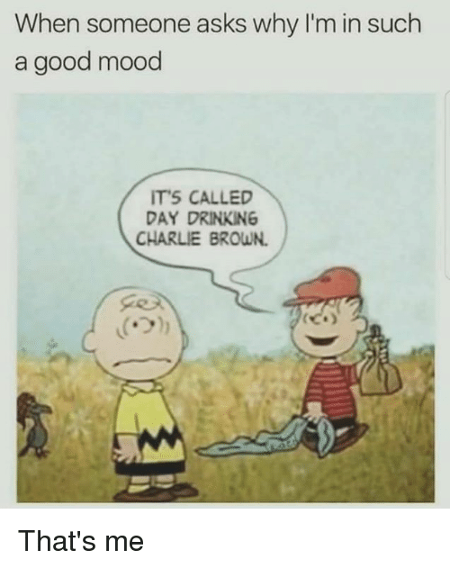 Charlie, Drinking, and Funny: When someone asks why I'm in such  a good mood  ITS CALLED  DAY DRINKING  CHARLIE BROWN. That's me