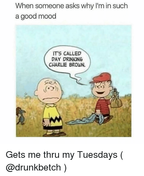 Charlie, Drinking, and Mood: When someone asks why I'm in such  a good mood  ITS CALLED  DAY DRINKING  CHARLIE BROWN.  ('기 Gets me thru my Tuesdays ( @drunkbetch )