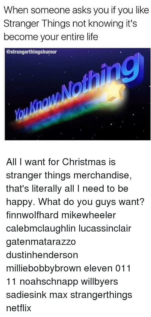 what do you memes netflix and be happy when someone asks you if you like stranger all i want for christmas - What Do Guys Want For Christmas