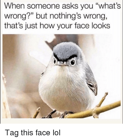 """Funny, Lol, and Asks: When someone asks you """"what's  wrong?"""" but nothing's wrong,  that's just how your face looks  15 Tag this face lol"""