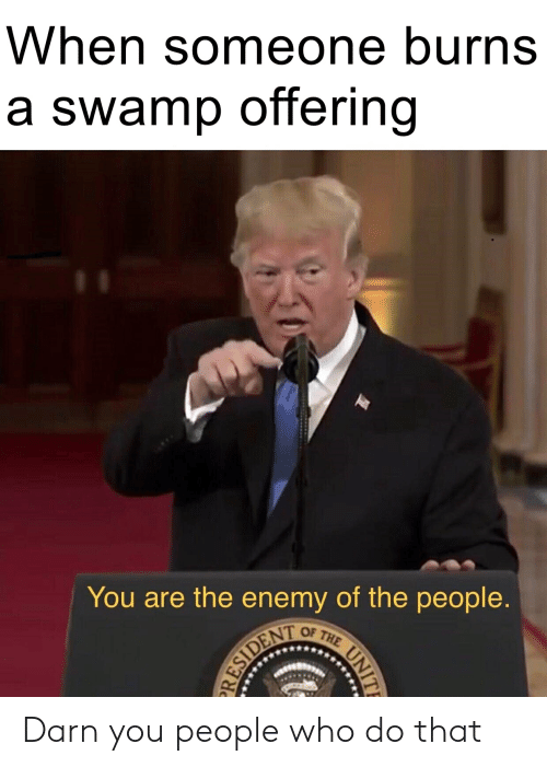 Who, The Enemy, and You: When someone burns  a swamp offering  You are the enemy of the people. Darn you people who do that