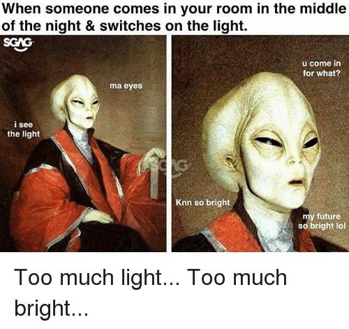 Future, Lol, and Memes: When someone comes in your room in the middle  of the night & switches on the light.  SGAG  u come in  for what?  ma eyes  i see  the light  Knn so bright  my future  so bright lol Too much light... Too much bright...