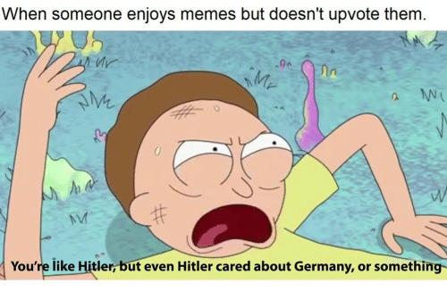 Memes, Germany, and Hitler: When someone enjoys memes but doesn't upvote them  ln  2.  NVI  You're like Hitler, but even Hitler cared about Germany, or something-