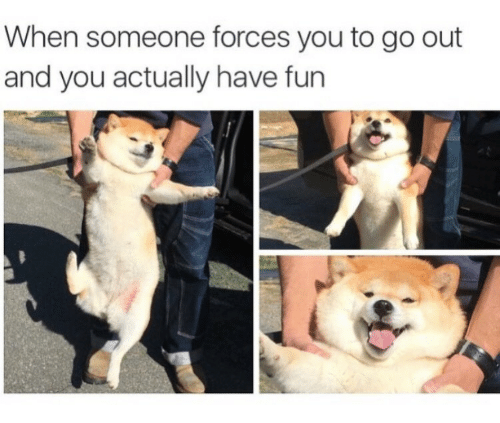 Fun, You, and Someone: When someone forces you to go out  and you actually have fun