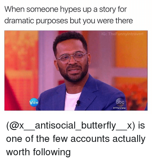 Hype, Butterfly, and The View: When someone hypes up a story for  dramatic purposes but you were there  IG: The Funnylntrovert  VIEW  #The View (@x__antisocial_butterfly__x) is one of the few accounts actually worth following