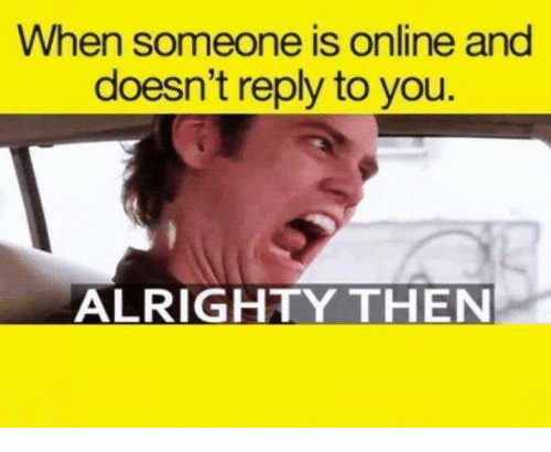 Memes, Alrighty Then, and 🤖: When someone is online and  doesn't reply to you  ALRIGHTY THEN