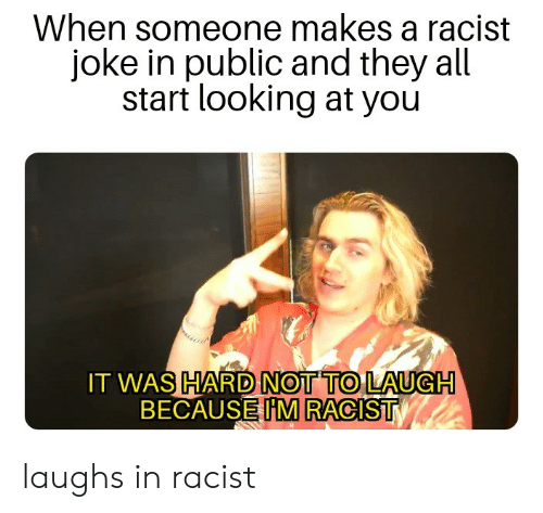 Racist, Dank Memes, and Looking: When someone makes a racist  joke in public and they all  start looking at you  IT WAS HARD NOT TO LAUGH  BECAUSE IM RACIST laughs in racist