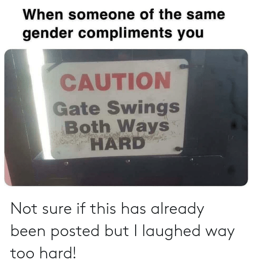 Been, Gate, and Gender: When someone of the same  gender compliments you  CAUTION  Gate Swings  Both Ways  HARD Not sure if this has already been posted but I laughed way too hard!