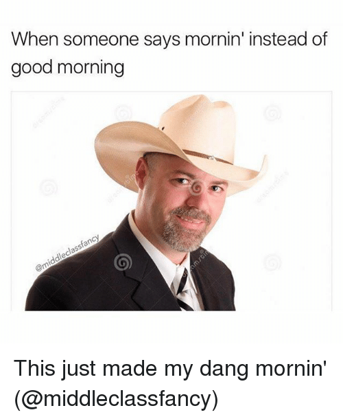 Funny,  Instead, and Danglies: When someone says mornin' instead of  good morning  classfancy  @middle This just made my dang mornin' (@middleclassfancy)