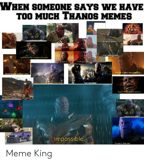 "Meme, Memes, and Sorry: WHEN SOMEONE SAYS WE HAVE  TOO MUCH THANOS MEMES  i  Aamalpwice to pay far  Perfectly balance...  Di you do it?  Yes.  As all thingsshould be.  I used the stones to destroy the stones  What did it cus  Everylhin  Reality is often disappethting  Reality can be whatever want  don't even kmow ho you are  ""Iam inevitable.""  Gone. Reduced to aloms.  They called me a madman  Asmal price to pay for savatkon.  Impossible.  I'm sorry, little one. Meme King"
