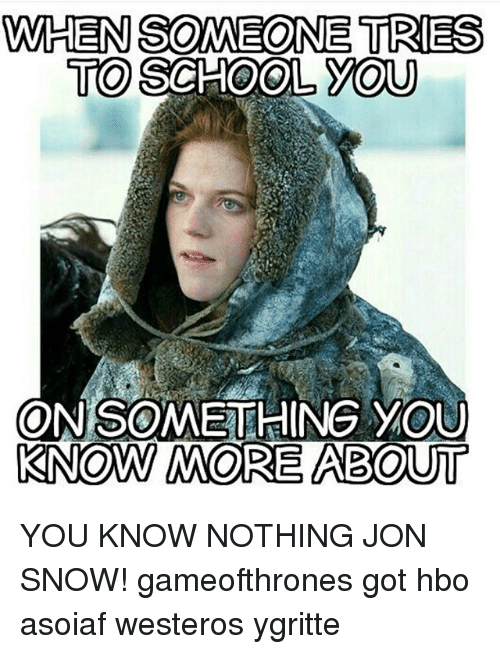 Game of Thrones, Hbo, and School: WHEN SOMEONE TRIES  TO SCHOOL YOU  ONSOMETHING YOU  KNOW MORE ABOUT YOU KNOW NOTHING JON SNOW! gameofthrones got hbo asoiaf westeros ygritte