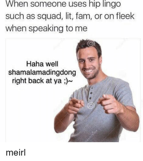 Fam, Lit, and On Fleek: When someone uses hip lingo  such as squad, lit, fam, or on fleek  when speaking to me  Haha wel  shamalamadingdong  right back at ya ;)~