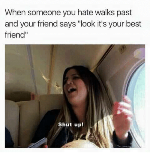 """Best Friend, Shut Up, and Best: When someone you hate walks past  and your friend says """"look it's your best  friend'  Shut up!"""