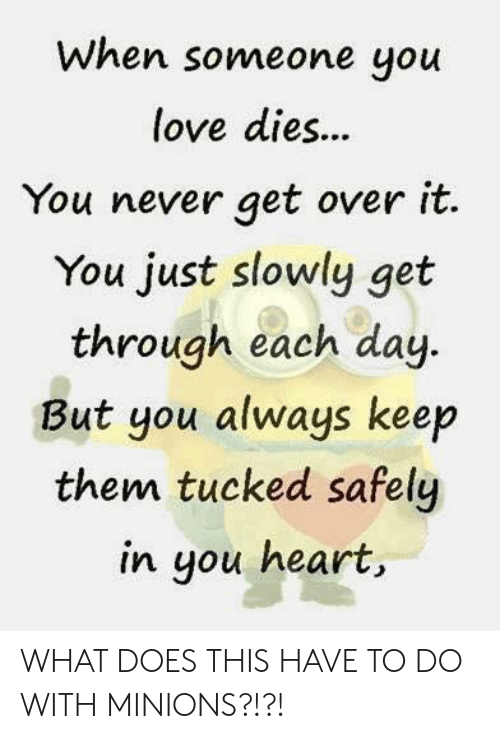 Love, Heart, and Minions: When someone you  love dies...  You never get over it.  You just slowly get  through each day  But you always keep  them tucked safely  in you heart WHAT DOES THIS HAVE TO DO WITH MINIONS?!?!