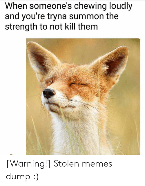 Memes, Them, and Stolen: When someone's chewing loudly  and you're tryna summon the  strength to not kill them [Warning!] Stolen memes dump  :)