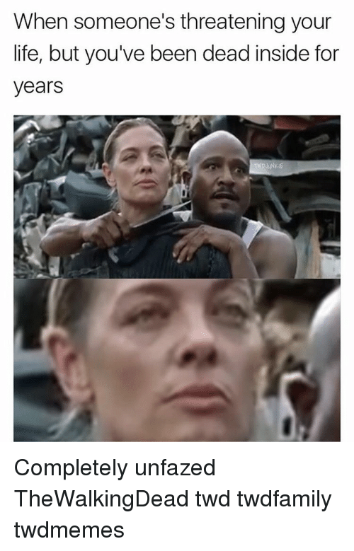 Memes, 🤖, and Twd: When someone's threatening your  life, but you've been dead inside for  years Completely unfazed TheWalkingDead twd twdfamily twdmemes