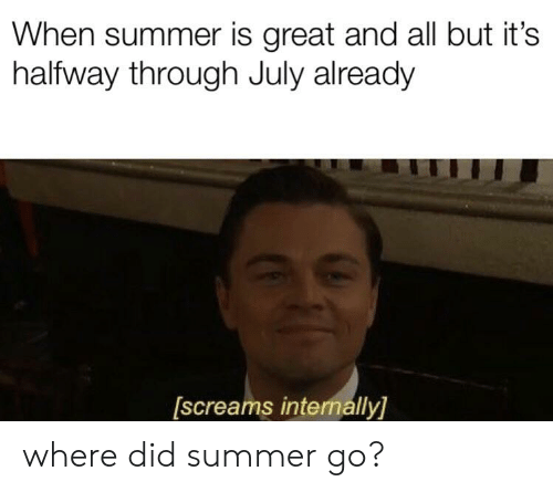 Summer, Did, and All: When summer is great and all but it's  halfway through July already  [screams internally] where did summer go?