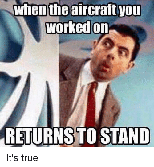 True, You, and Aircraft: when the aircraft you  worked on  RETURNSTO STAND
