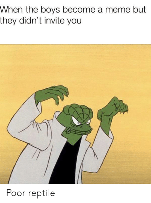 Meme, Boys, and They: When the boys become a meme but  they didn't invite you Poor reptile