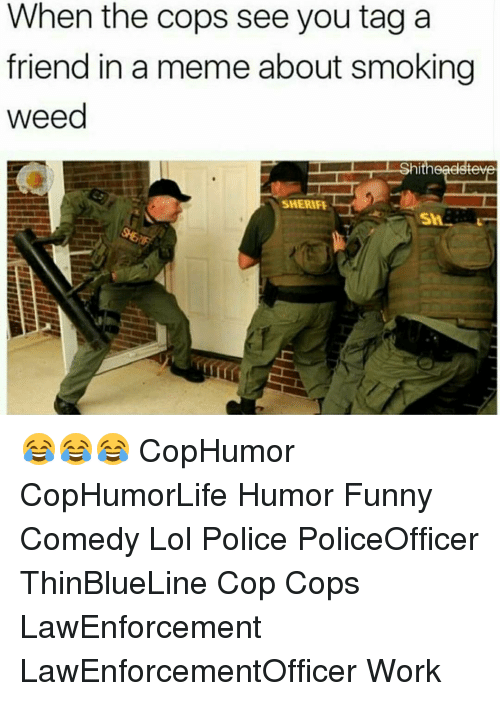 Funny, Lol, and Meme: When the cops see you tag a  friend in a meme about smoking  weed  hitheaelstev  SHERIFE 😂😂😂 CopHumor CopHumorLife Humor Funny Comedy Lol Police PoliceOfficer ThinBlueLine Cop Cops LawEnforcement LawEnforcementOfficer Work