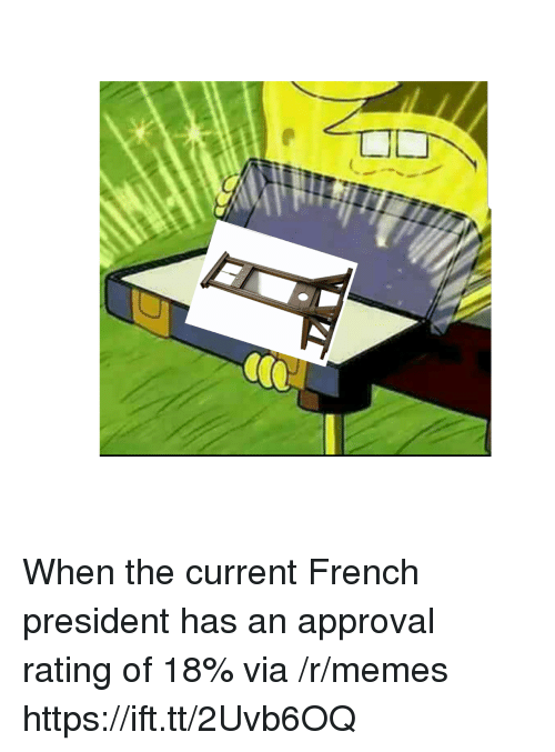 Memes, French, and President: When the current French president has an approval rating of 18% via /r/memes https://ift.tt/2Uvb6OQ