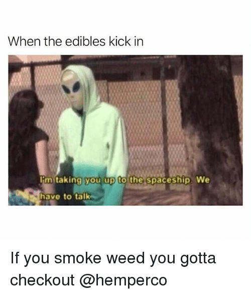 Weed, Trendy, and Kick: When the edibles kick in  Iim taking you up to the spaceship We  have to talk If you smoke weed you gotta checkout @hemperco