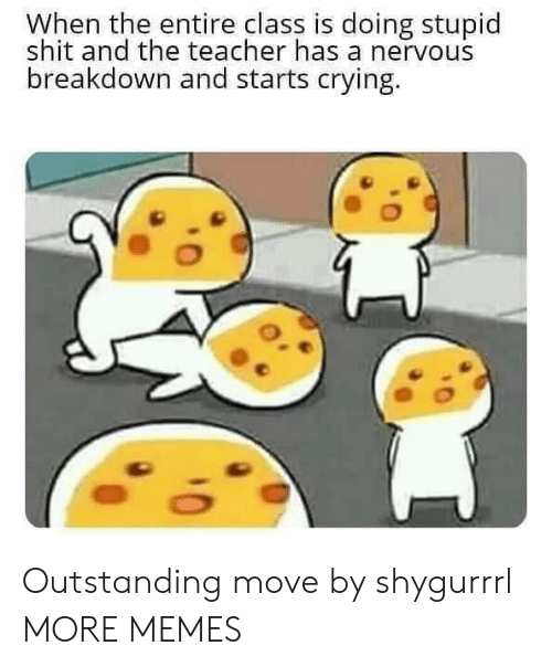 Crying, Dank, and Memes: When the entire class is doing stupid  shit and the teacher has a nervous  breakdown and starts crying. Outstanding move by shygurrrl MORE MEMES