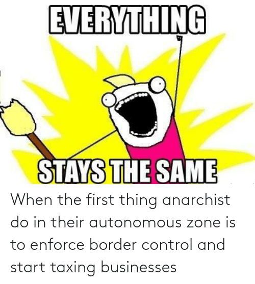 Control, Anarchist, and First: When the first thing anarchist do in their autonomous zone is to enforce border control and start taxing businesses