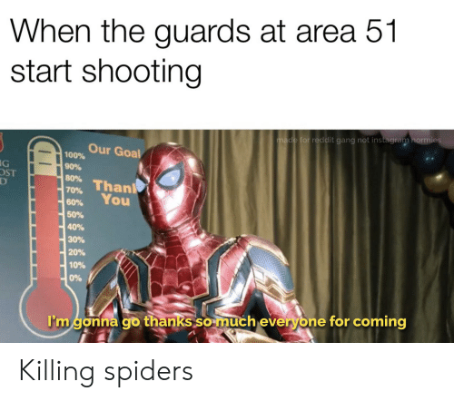Instagram, Reddit, and Gang: When the guards at area 51  start shooting  made for reddit gang not instagram normies  Our Goal  100%  90%  80% Thanl  70%  G  D  You  60%  50%  40%  30%  20%  10%  0%  I'm gonna go thanks so much everyone for coming Killing spiders