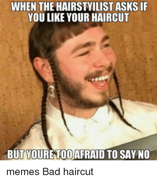 Haircut Girl Meme: WHEN THE HAIRSTYILIST ASKS IF YOU LIKE YOUR HAIRCUT BUT