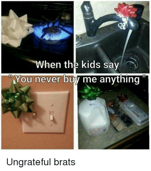 Kids, Never, and You: When the kids say  You never buy me anything Ungrateful brats