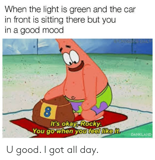 Mood, Rocky, and Good: When the light is green and the car  in front is sitting there but you  in a good mood  8  You go when  It's okay Rocky.  ODgO whed  you teey like t  DANKLAND U good. I got all day.