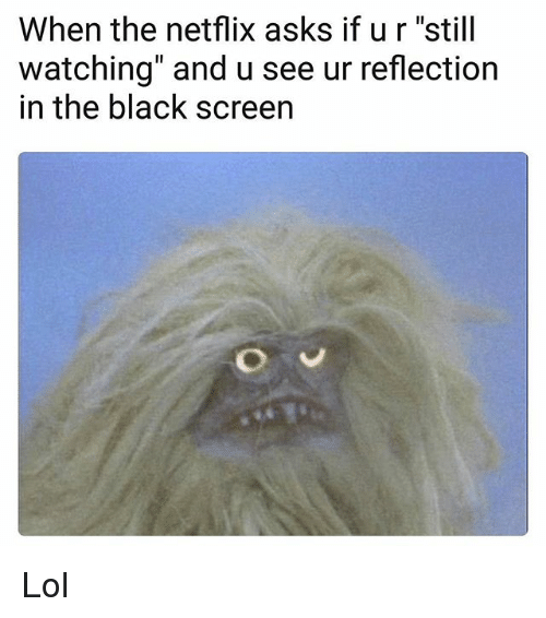 """Funny, Lol, and Netflix: When the netflix asks if ur """"still  watching"""" and u see ur reflection  in the black screen Lol"""