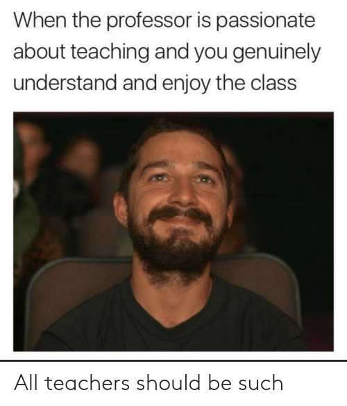 Passionate, Teaching, and Teachers: When the professor is passionate  about teaching and you genuinely  understand and enjoy the clas:s All teachers should be such
