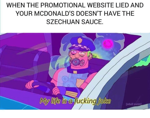 Fucking, Life, and McDonalds: WHEN THE PROMOTIONAL WEBSITE LIED AND  YOUR MCDONALD'S DOESN'T HAVE THE  SZECHUAN SAUCE.  My life is a fucking joke  adult swim