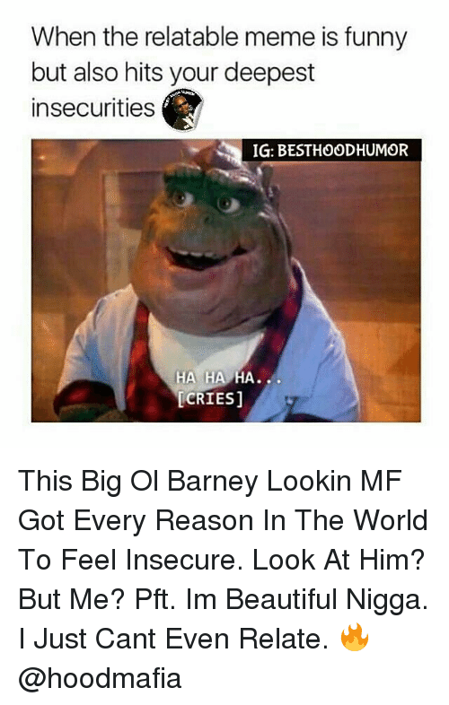 Barney, Memes, and Pft: When the relatable meme is funny  but also hits your deepest  insecurities  IG: BEST HOOD HUMOR  HA HA  HA  CRIES] This Big Ol Barney Lookin MF Got Every Reason In The World To Feel Insecure. Look At Him? But Me? Pft. Im Beautiful Nigga. I Just Cant Even Relate. 🔥 @hoodmafia