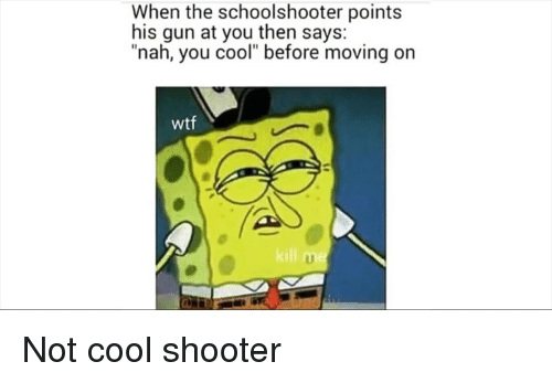 "Reddit, Wtf, and Cool: When the schoolshooter points  his gun at you then says:  ""nah, you cool"" before moving on  wtf"