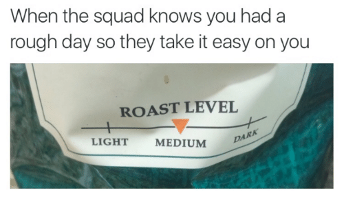 Roast, Squad, and Humans of Tumblr: When the squad knows you had a  rough day so they take it easy on you  ROAST LEVEL  DARA  LIGHT  MEDIUM