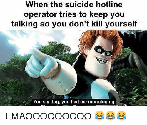 Suicide, Dank Memes, and Sly: When the suicide hotline  operator tries to keep you  talking so you don't kill yourself  You sly dog, you had me monologing LMAOOOOOOOOO 😂😂😂