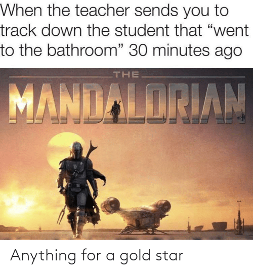 """Teacher, Star, and Gold: When the teacher sends you to  track down the student that """"went  to the bathroom"""" 30 minutes ago  THE  MANDALORIAN Anything for a gold star"""