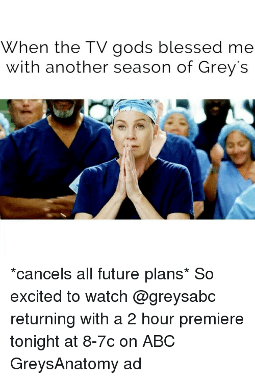 Abc, Blessed, and Future: When the TV gods blessed me  with another season of Grey's *cancels all future plans* So excited to watch @greysabc returning with a 2 hour premiere tonight at 8-7c on ABC GreysAnatomy ad
