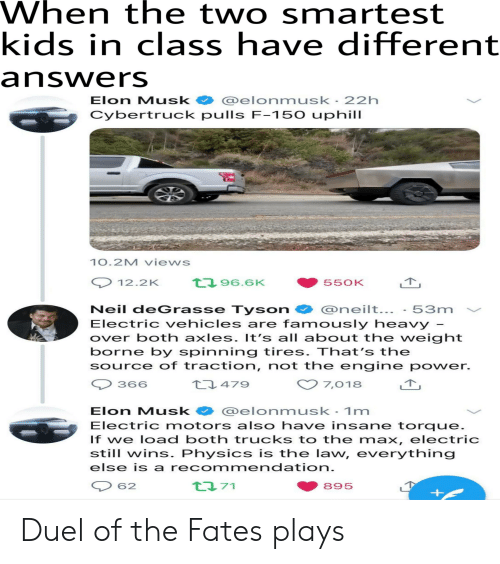 Neil deGrasse Tyson, Reddit, and Kids: When the two smartest  kids in class have different  answers  Elon Musk elonmusk 22h  Cybertruck pulls F-150 uphill  10.2M views  t96.6K  12.2K  550K  Neil deGrasse Tyson  Electric ehicles are famously heavy  over both axles. It's all about the weight  borne by spinning tires. That's the  Source of traction, not the engine power.  @neilt...  53m  479  366  7,018  @elonmusk - 1m  Electric motors also have insane torque.  If we load both trucks to the max, electric  still wins. Physics is the law, everything  Elon Musk  else is a recommendation.  ta71  62  895 Duel of the Fates plays
