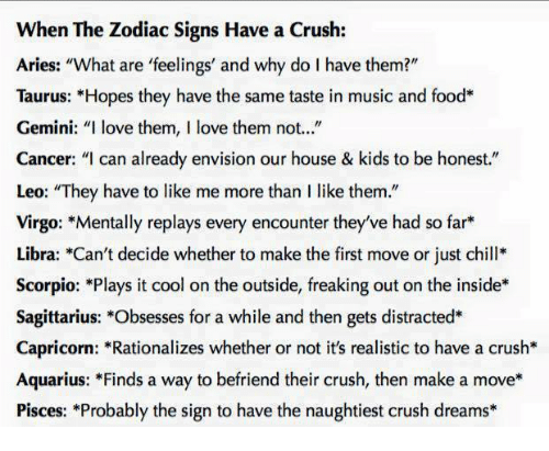When the Zodiac Signs Have a Crush Aries What Are 'Feelings' and Why