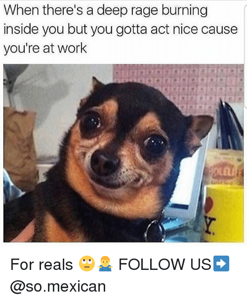 Memes, Work, and Mexican: When there's a deep rage burning  inside you but you gotta act nice cause  you're at work For reals 🙄🤷‍♂️ FOLLOW US➡️ @so.mexican