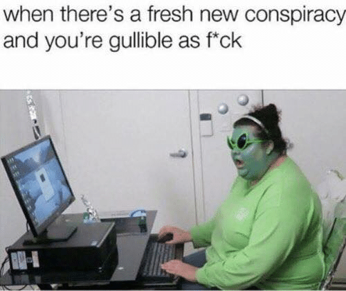 Fresh, Memes, and Conspiracy: when there's a fresh new conspiracy  and you're gullible as f'ck