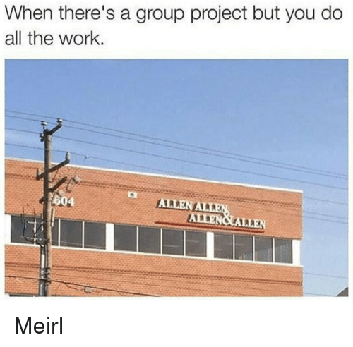 Work, MeIRL, and All The: When there's a group project but you do  all the work  604 Meirl