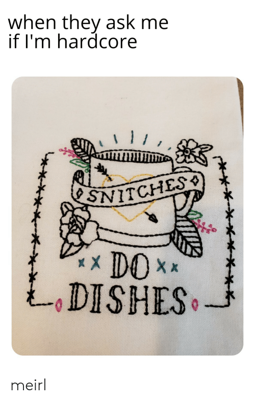 MeIRL, Ask, and Hardcore: when they ask me  if 'm hardcore  SNITCHES  xXDOX  DISHES meirl