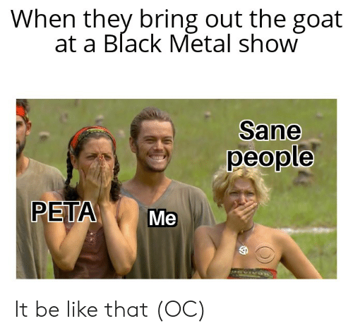 Be Like, Peta, and Goat: When they bring out the goat  at a Black Metal show  Sane  people  PETA  Me It be like that (OC)