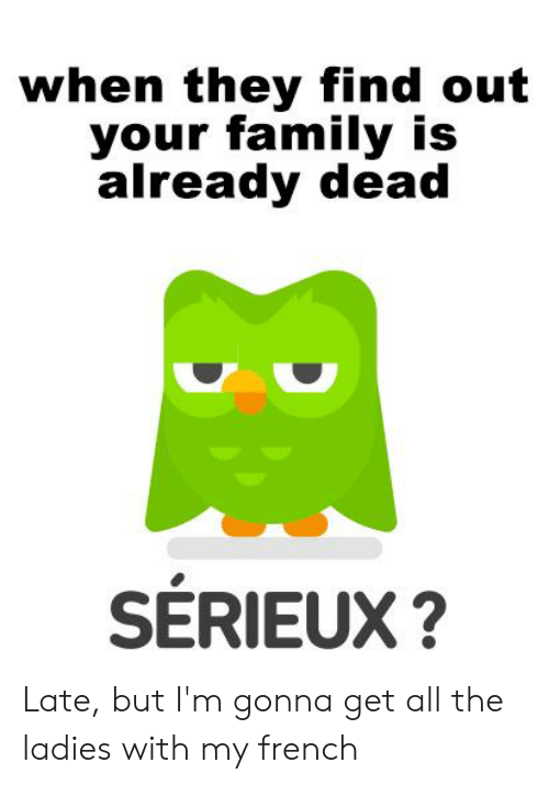 Family, Dank Memes, and French: when they find out  your family is  already dead  SERIEUX? Late, but I'm gonna get all the ladies with my french