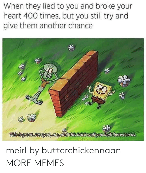 Dank, Memes, and Target: When they lied to you and broke your  heart 400 times, but you still try and  give them another chance  This isgreat. Justyou,me, and this brick wallyoubuilt between us meirl by butterchickennaan MORE MEMES